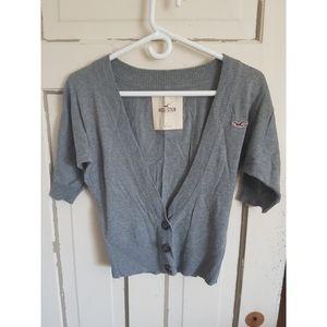 Hollister Short Sleeve Grey Cardigan